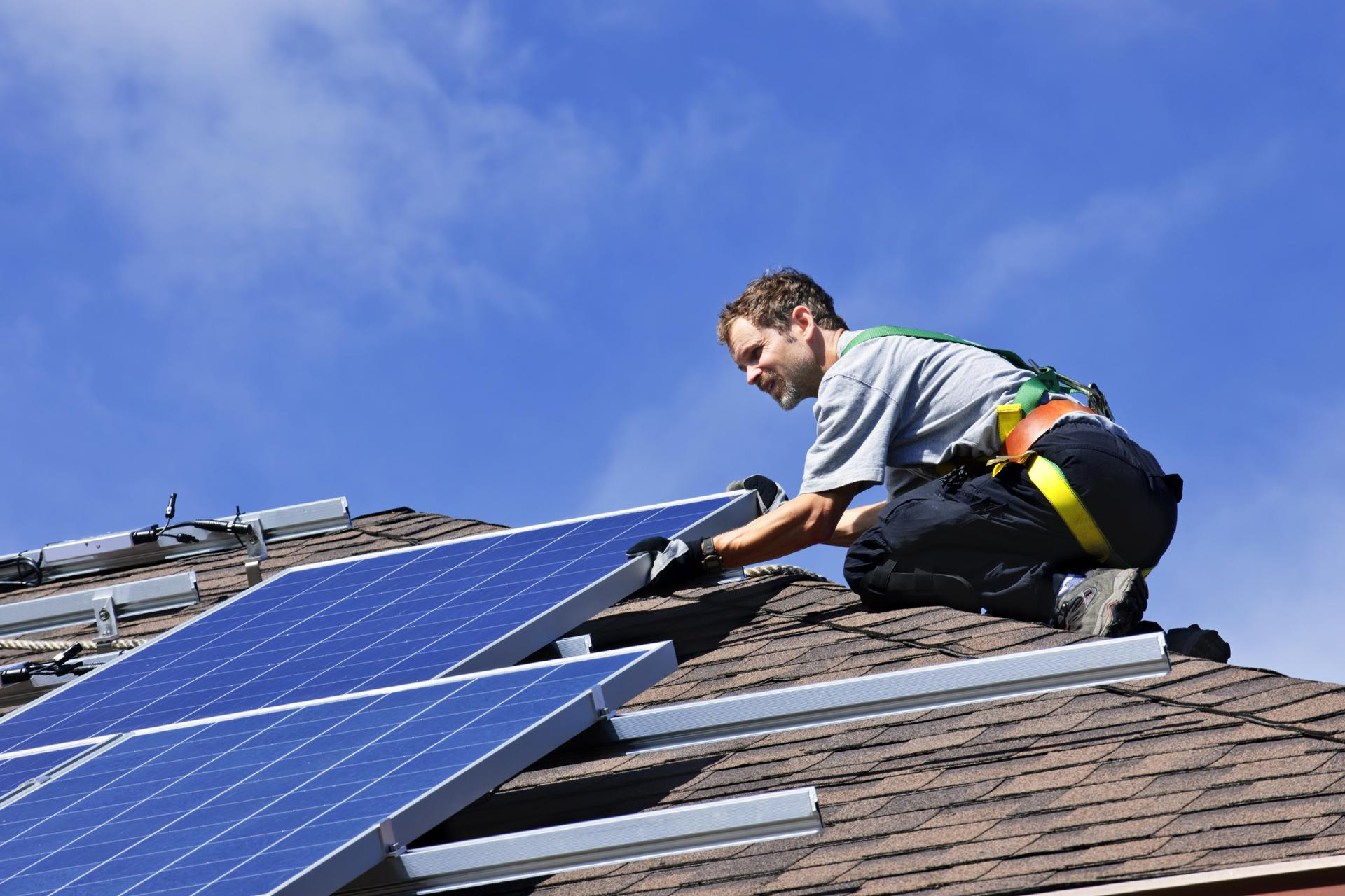 solar panel installation on roof